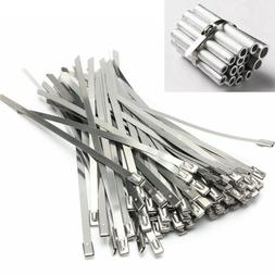 "10/100Pcs  21"" Stainless Steel Metal Self Locking Cable Zi"