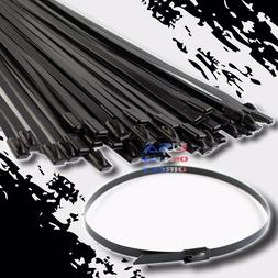 "10"" Coated Stainless Steel Exhaust Wrap UL Locking Cable Zip"
