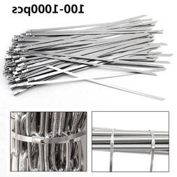 "100-1000Pcs 12"" 16"" 18"" Stainless Steel Metal Cable Zip Tie"