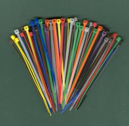 """100 4"""" Inch Long 18# Pound Nylon Cable Ties 10 COLORS Zip Ti"""