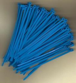 """100 5"""" Inch Long 40# Pound FLUORESCENT BLUE Nylon Cable Zip"""
