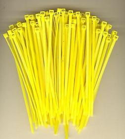 """100 5"""" Inch Long 40# Pound YELLOW Nylon Cable Zip Ties Ty Wr"""