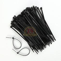 100 PACK 6 INCH ZIP TIES NYLON BLACK 40 LBS UV WEATHER RESIS