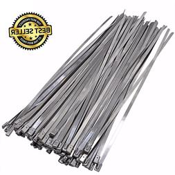100 PACK Stainless Steel Exhaust Wrap Coated Locking Cable Z