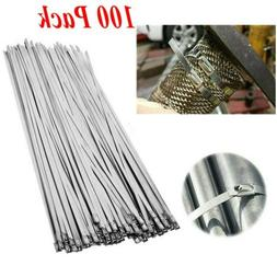 "100 Pcs 304 Stainless Steel 12"" Exhaust Wrap Coated Metal Lo"