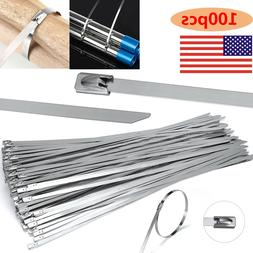 """100 Pcs 304 Stainless Steel 12"""" Exhaust Wrap Coated Metal Lo"""