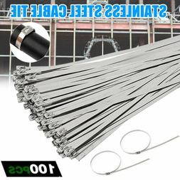 "100 Pcs Cable Zip Ties 304 Stainless Steel 12"" Exhaust Wrap"