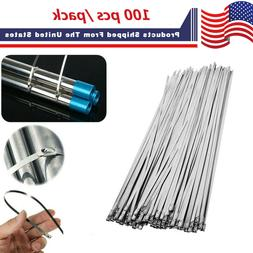 """100 Pcs Cable Zip Ties 304 Stainless Steel 12"""" Exhaust Wrap"""