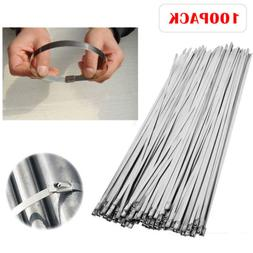 100 x Metal Self Locking Stainless Steel Cable Zip Ties Wire