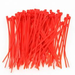 "1000 Heavy Duty 4"" 18 Pound Cable Zip Ties Nylon Wrap Red"