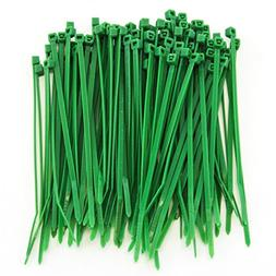 "1000 Heavy Duty 4"" 18 Pound Zip Cable Ties Nylon Wrap Green"