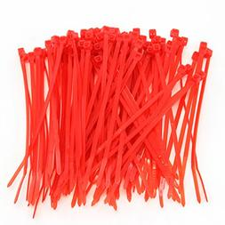 "1000 Heavy Duty 4"" 18 Pound Zip Cable Ties Nylon Wrap Red"