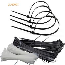 "1000 Pcs 8""Self-Locking Plastic Cable Ties Wrap Wire Cord Zi"