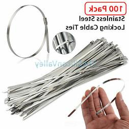 "100PCS 12"" Stainless Steel Header Exhaust Wrap Locking Cable"