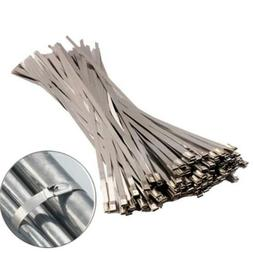 100PCS Stainless Steel Exhaust Wrap Coated Locking Cable Zip