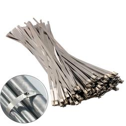 100pcs Stainless Steel Metal Cable Wire Zip Tie Wrap Self-Lo