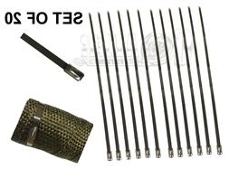 """12"""" 20 PCS STAINLESS CABLE ZIP TIE STRAPS ELECTRONICS SECURE"""