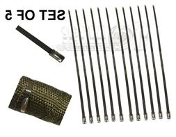 """12"""" 5 PCS STAINLESS CABLE ZIP TIE STRAPS ELECTRONICS SECURE"""
