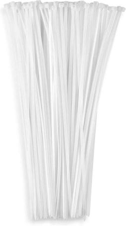 "12"" Inch Zip Ties White , 40lb Strength, Nylon Cable Wire Ti"