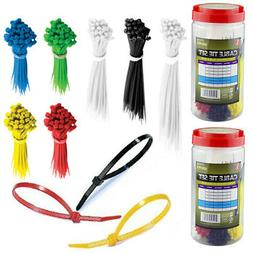 1300 Pc Cable Ties Assorted Color Size Zip Tie Nylon Wire Ho