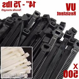 NiftyPlaza 14 Inch Cable Ties - 500 Pack - 75 lbs TENSILE St