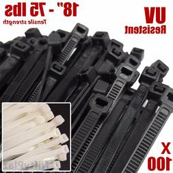 NiftyPlaza 18 Inch Cable Ties - 100 Nylon Zip Ties 75 lbs UV