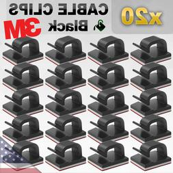 20 Pack 3M Cable Clips Self Adhesive Clip Wire Holder Cord O