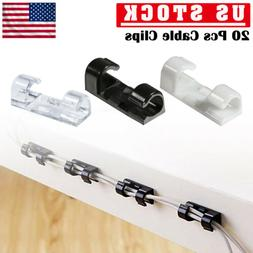 20 x Cable Clips Management Holder Cord Wire Line Organizer