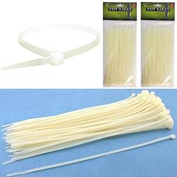 "200 Cable Ties Zip Cords 8"" Inch Transparent Color Nylon Wir"