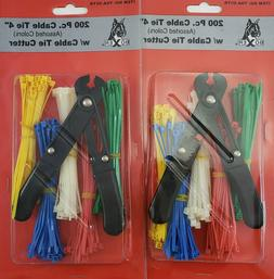 "Boxer Tools 200 Pc 4"" Zip Ties Cable Straps w/ Cutter"