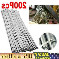 """200Pcs Stainless Steel 12"""" Exhaust Wrap Coated Metal Locking"""