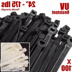24 inch cable ties 100 pack heavy
