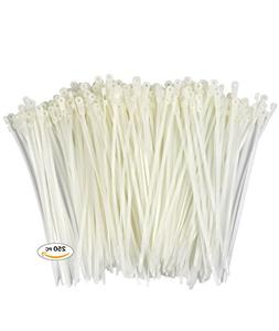 250 Premium Heavy Duty 6 Inch Mount Hole Zip Ties | White Ny