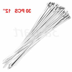 30 Pcs Stainless Steel Metal Cable Zip Ties Strap Locking Ex