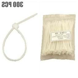 300 Pcs 4 Inch Nylon Plastic Cable Zip Ties Cord Strap Wire