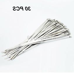 30PCS 8'' Stainless Steel Chrome Locking ZIP Ties Straps Wra