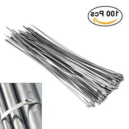 OUNONA 100pcs 4.6mm300mm Stainless Steel Cable Zip Ties Exha