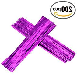 200pcs 4'' Metallic Twist Ties  Color: Purple Model: Home&Wo