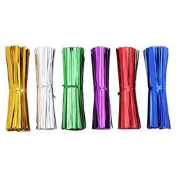 AIRSUNNY 600 pcs 4'' Metallic Twist Ties - 6 Colors red, blu