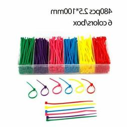 480pieces 4'' Nylon Cable Ties Self-Locking Zip Ties Multi-c