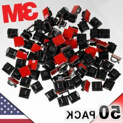 50 Pack 3M Cable Clips Self Adhesive Clip Wire Holder Cord O