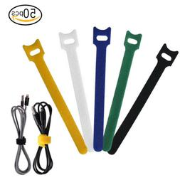 50 PCS Reusable Hook and Loop Fastening Cable Ties with Micr
