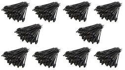 1000 Pack 6 Screw Down Zip Ties Nylon Black Nail Screw Wire