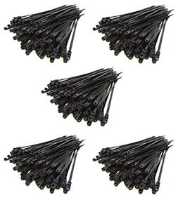 500 Pack 6 Screw Down Zip Ties Nylon Black Nail Screw Wire C