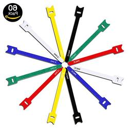 iXCC 60 Packs Reusable Fastening Cable Ties, Wire Straps, Ho