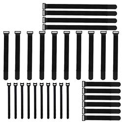 Adywe 30 Pack Black Adjustable Cable Wire Ties with Plastic