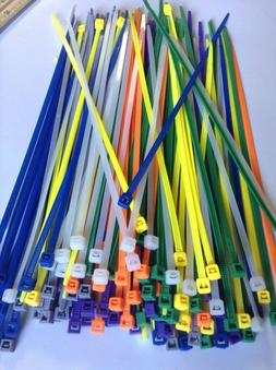 """8"""" ASSORTED COLOR Network Cable Cord ZIP Wire Tie Strap 40 L"""