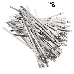 """8"""" Stainless Steel Metal Cable Wire Zip Tie Wrap Self-Lockin"""