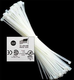 """8"""" to 18"""" 50-1000 USA INDUSTRIAL WHITE WIRE CABLE ZIP TIES N"""