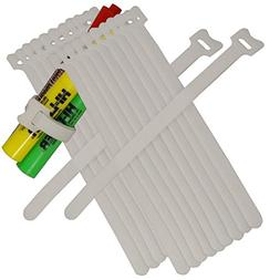"""BlueDot Trading,Hook & Loop Fastener Cable Tie .5""""x8"""" White,"""